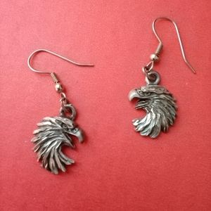 EJC pewter eagle carved design pierced earrings
